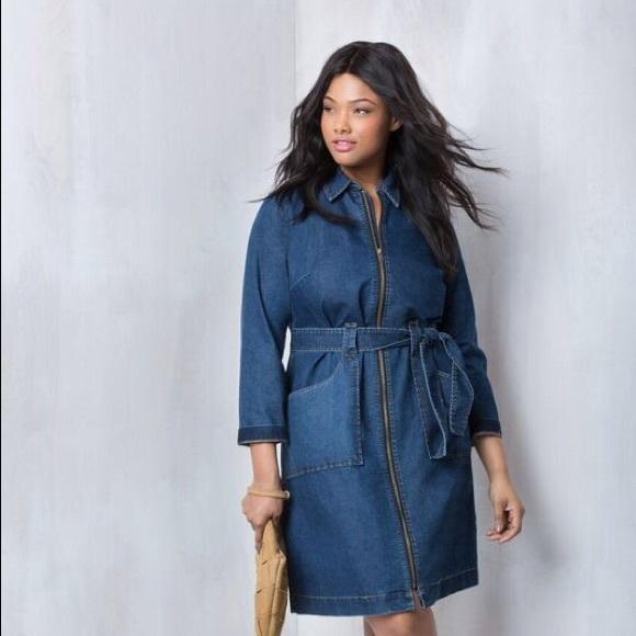 b502a271a3 Eloquii Dresses   Skirts - Eloquii Denim Dress with tie belt